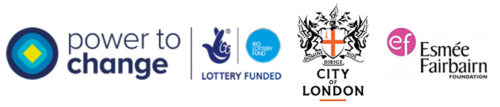 Power to change/City of London/Esmee Fairbairn Foundation logos